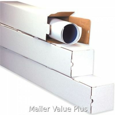 50 - 3 x 3 x 48 White Corrugated Square Mailing Tube Shipping Storage Tubes