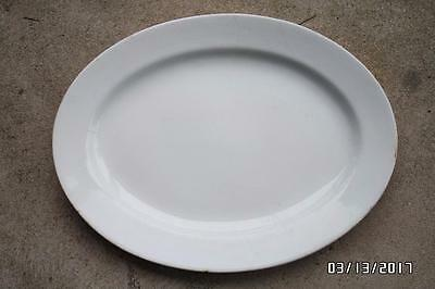 ANTIQUE 16 in white IRONSTONE oval PLATTER serving TRAY dish PLATE meat TURKEY