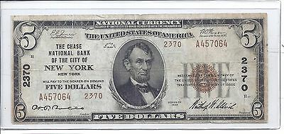 1929 Type 2 $5 Chase National Bank of city New York #2370