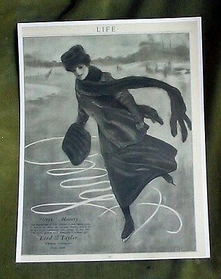 Onyx Silk Lord & Taylor Hosiery Ice Skating Advertising Reprint Life Mag 1906