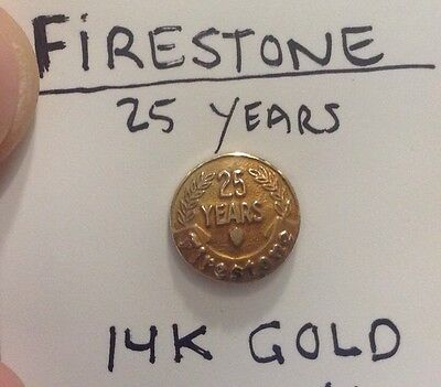 14K GOLD FIRESTONE 25 YEARS PIN Company Service Vintage tires sign award