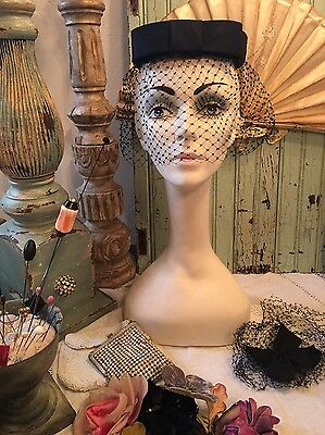 Lot Of Two Vintage 50''s 60's Black Hat Net Veils