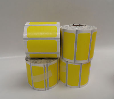"""Zebra Barcode Label Thermal Printer Label Rolls Lot of 4 YELLOW color 1.75""""x1.5"""""""