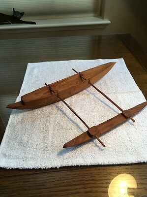"Large 14""x10"" Wide Carved Wood Catamaran With Out-Rigger. Primitive."