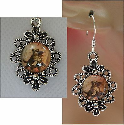 Silver Vintage Style Bride & Groom Cats Charm Drop/Dangle Earrings Handmade NEW