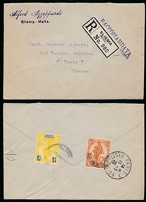 MALTA 1926 REGISTERED 4d + 1 1/2d SLIEMA to FRANCE...AZZOPPARDI ENVELOPE