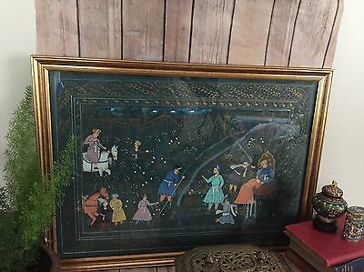 Vintage Framed Middle Eastern Painting On Green Silk  With Gold Accents