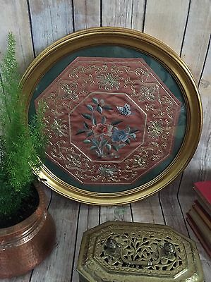Vintage Framed Chinese Embroidery Round Frame gold thread