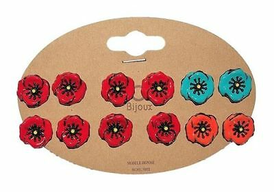 Lol Jewelry - earrings Poppies - Red - Turquoise - Orange - Nail