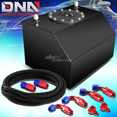4 Gallon Polished Coated Race Fuel Cell Tank+Cap+Level Sender+Steel Line Kit