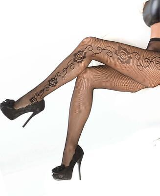 Fishnet Tights Pantyhose With Rose Detail - Coquette 1789