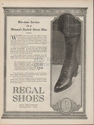 1918 War Time Service Woman s High Top Street Boot Regal Shoe Boston MA WWI Ad
