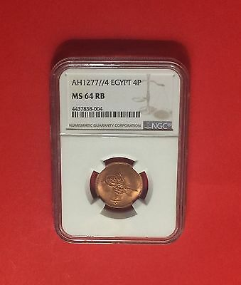 Egypt -UNCIRCULATED RARE 1863(1277) ,4 Para NGC ,CERTIFIED BY MS 64 RB .