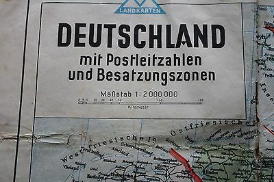 Vintage German Map Showing Zones after WWll