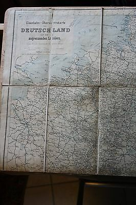 Antique 1909 Map of Train System of Europe