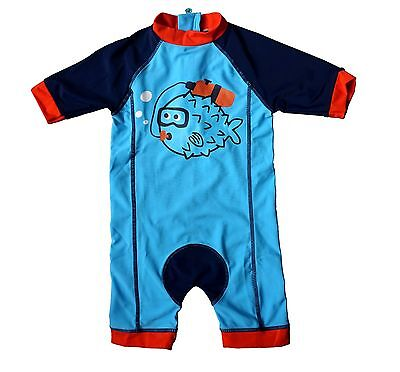 Baby Boy Toddler Swim S/S Zipper UPF 50+ Sun Protection All-In-One UV Sun suit