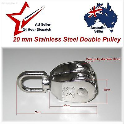 304 Stainless Steel Double Swivel Eye Pulley 20mm - camping rope cord lifting