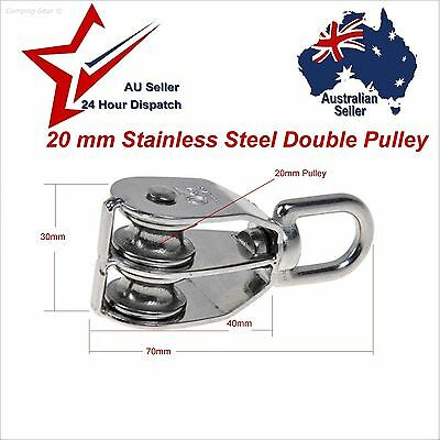 304 Stainless Steel Double Swivel Eye Pulley 20mm -- camping rope cord lifting