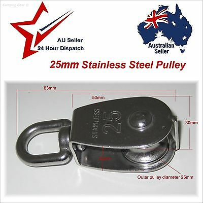 304 Stainless Steel Single Swivel Eye Pulley 25mm -- camping rope cord lifting
