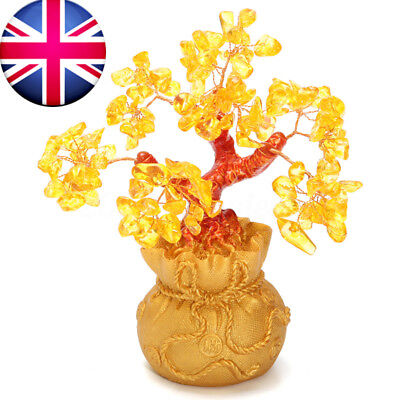 Lucky Citrine Yellow Crystal Gem Feng Shui Wealth Money Tree Home Office Decor