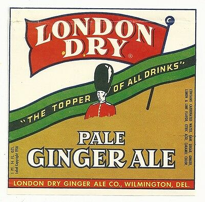 1950's London Dry Pale Ginger Ale Label - Wilmington, DE