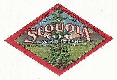 1910's Sequoia Club Soda Label - California