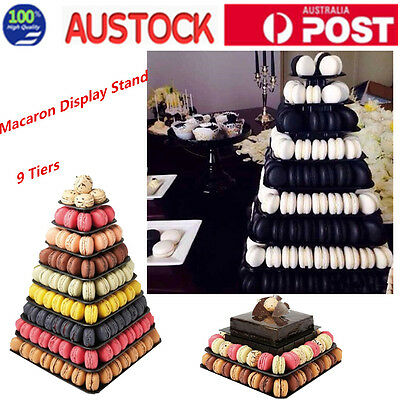 9 Tiers Macaron Stand Wedding Party Dessert Display Tower Square Shape AU