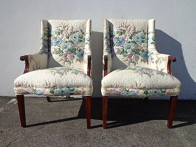2 Vintage Chairs Pair of Chairs Hollywood Regency Wing Back Armchairs Wingback