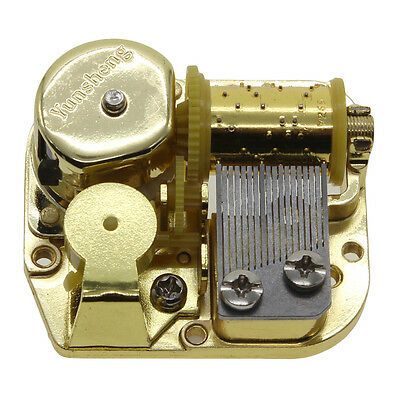New Gold Plated Mechanical Wind Up Music Box Five Beautiful Melodies to Choose