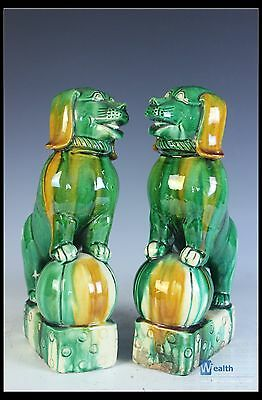 Rare Chinese Beautiful A Pair Famille Rose Porcelain Carved Dog Statue