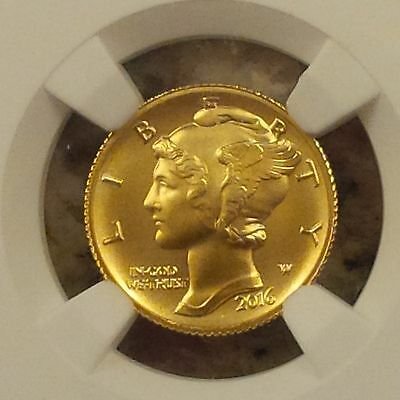 2016-W 1/10 oz Gold Mercury Dime Coin NGC SP70 Early Release