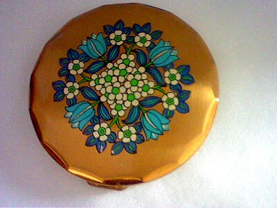 Vintage gold tone powder compact with blue & white flowers