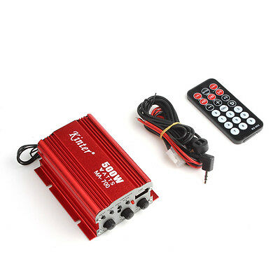 500W Car Motorcycle 2CH 2 Channel Mini Audio Stereo Speaker Amplifier USB MP3 FM