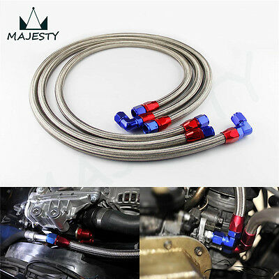 JDM Stainless Steel 10 An Engine Oil Cooler Braided Hose Filter Relocation Hose