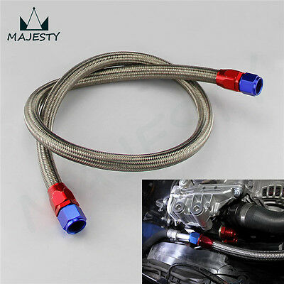 """10AN 48"""" Satiness Steel Braided Oil Cooler Fuel Line Hose Fitting End Adapter"""