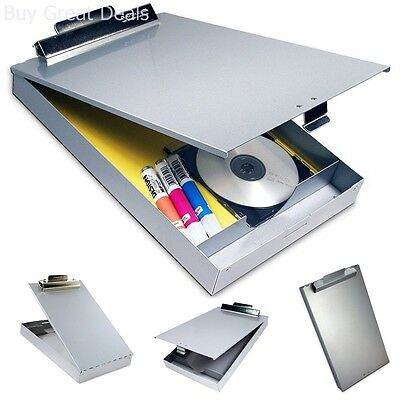 New Metal Storage Clipboard Compartment Document Paper Box Container