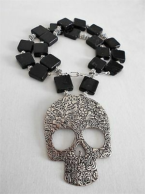 SALE HALLOWEEN  Blackstone Necklace with Silver Skull Pendant was $29 NOW $20
