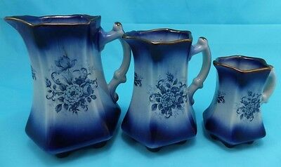 Staffordshire Pottery Mayfayre set of 3 Graduated Jugs Blue Floral Rare Colour