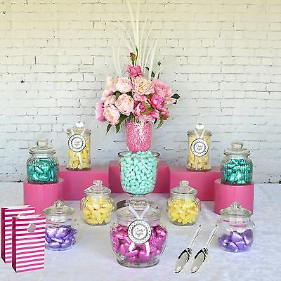 Lolly Jars Candy Buffet x 10 Jars 2 Scoops and 12 x Lolly Bags Apothecary Jars