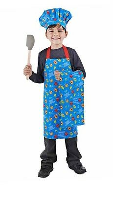 Hungry Little Monsters Blue 3 Piece Kids Chefs Set-Chef Apron, Hat & Tea Towel
