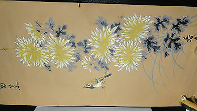 Japanese Asian Hanging Scroll Chrysanthemum #6150B Paper Signed