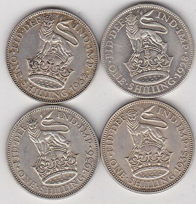 1928/1932/1935 & 1936 Shillings In Near Extremely Fine Or Better Condition