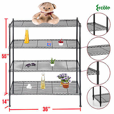 "55""x36""x14"" Heavy Duty 4 Tier Layer Wire Shelving Rack Steel Shelf Adjustable"