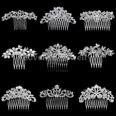 Diamante Bridal Flower Hair Combs Crystal Rhinestone Wedding Slide Clip Tiara