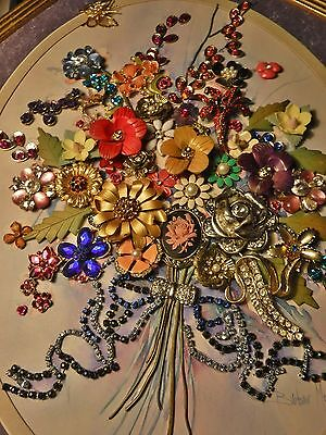 Original Vintage Jewelry Art Bouquet, over Upcycled print, Lovely Piece