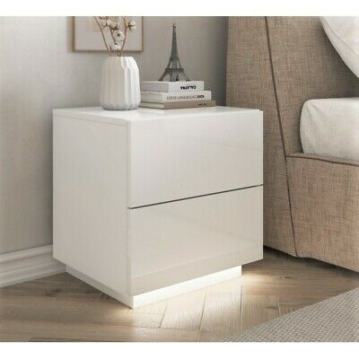 White Bedside Cabinet / Table Rita / FREE LED ! / High Gloss Bedroom Furniture