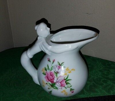CHARMING Vintage Small Floral Pitcher/Creamer w/FIGURAL LADY HANDLE!