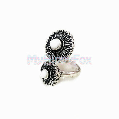 Lucky Brand Antiqued Silver Tone Double White Stone Floral Statement Ring