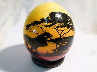 Vintage Hand Painted Genuine Empty Ostrich Egg with African Plains and Animals