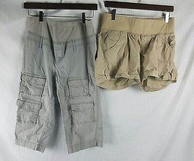 Maternity Shorts crops Capris cargo Lot of 2 Below Belly Small Khaki Tan